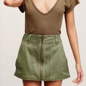 Free People Too Cool Zip Front Army Mini Skirt 6